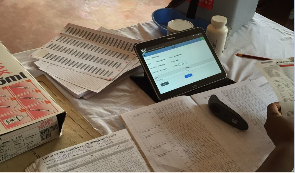 Data collection at a health facility in Malawi