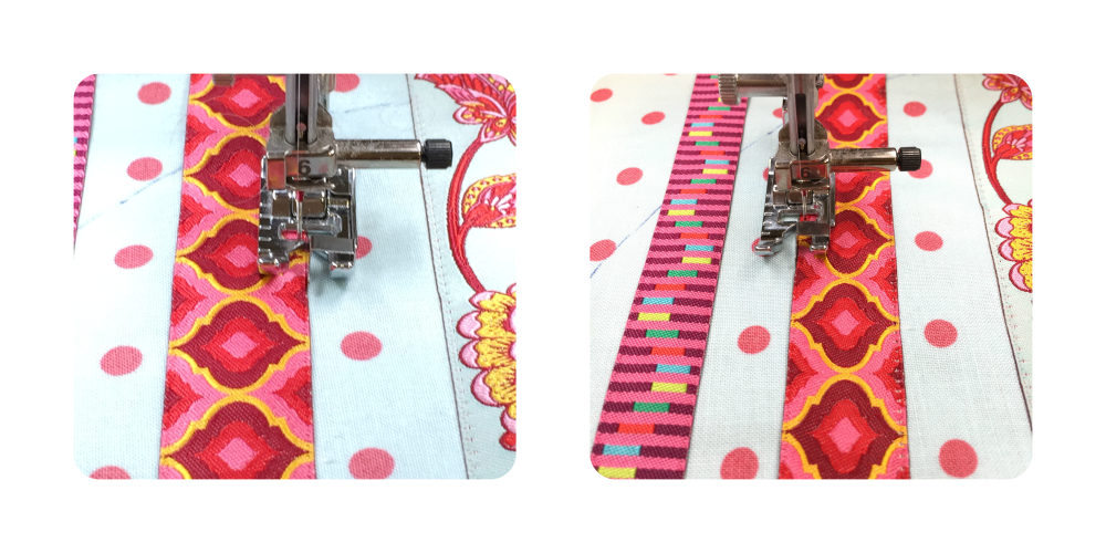 Using the mirror image function with a straight stitch.
