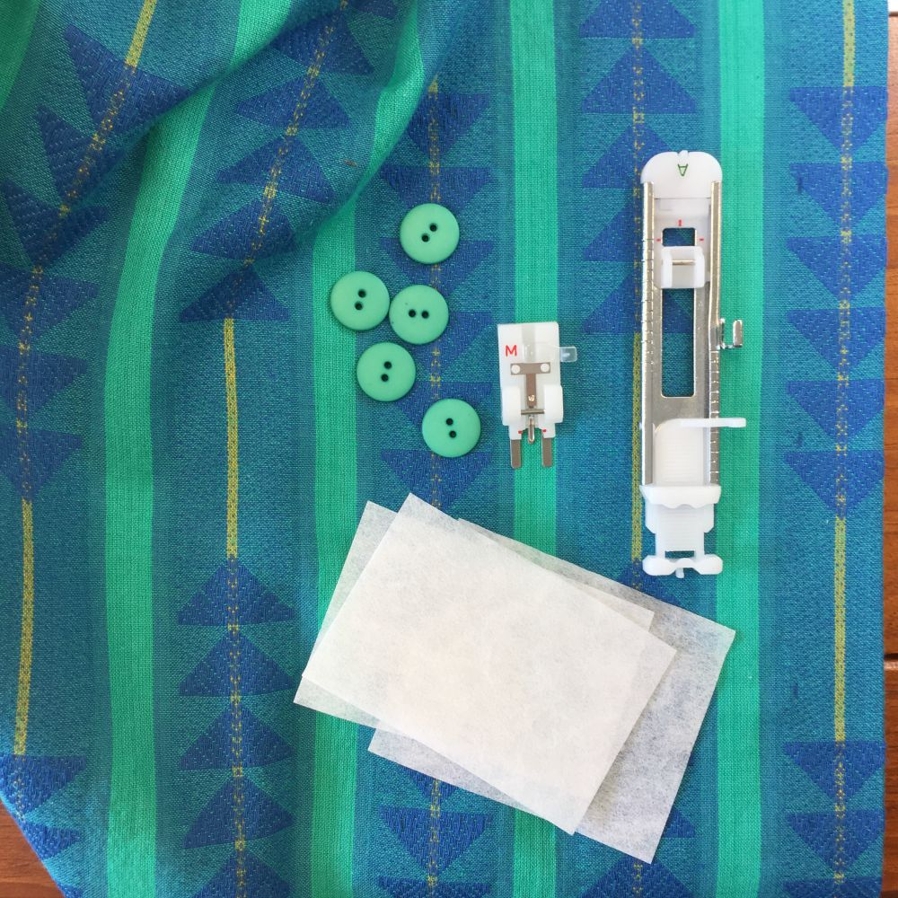 Supplies needed for making successful buttonholes, and for sewing on the buttons by machine.