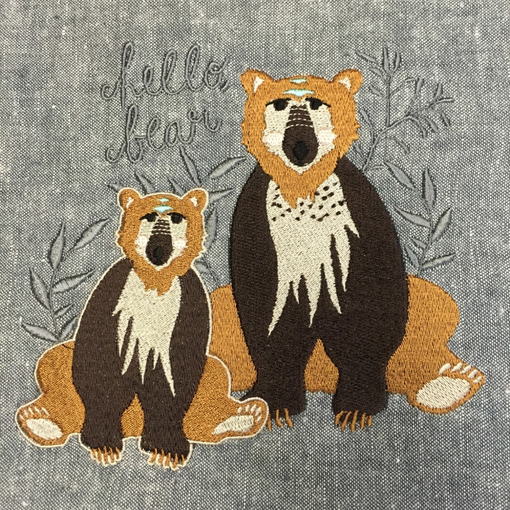Hello, Bear Embroidery Design