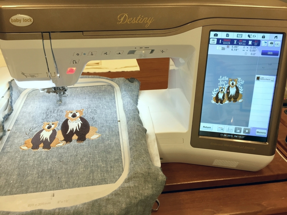Baby Lock Destiny Embroidery Machine and Hello, Bear by Bonnie Christine
