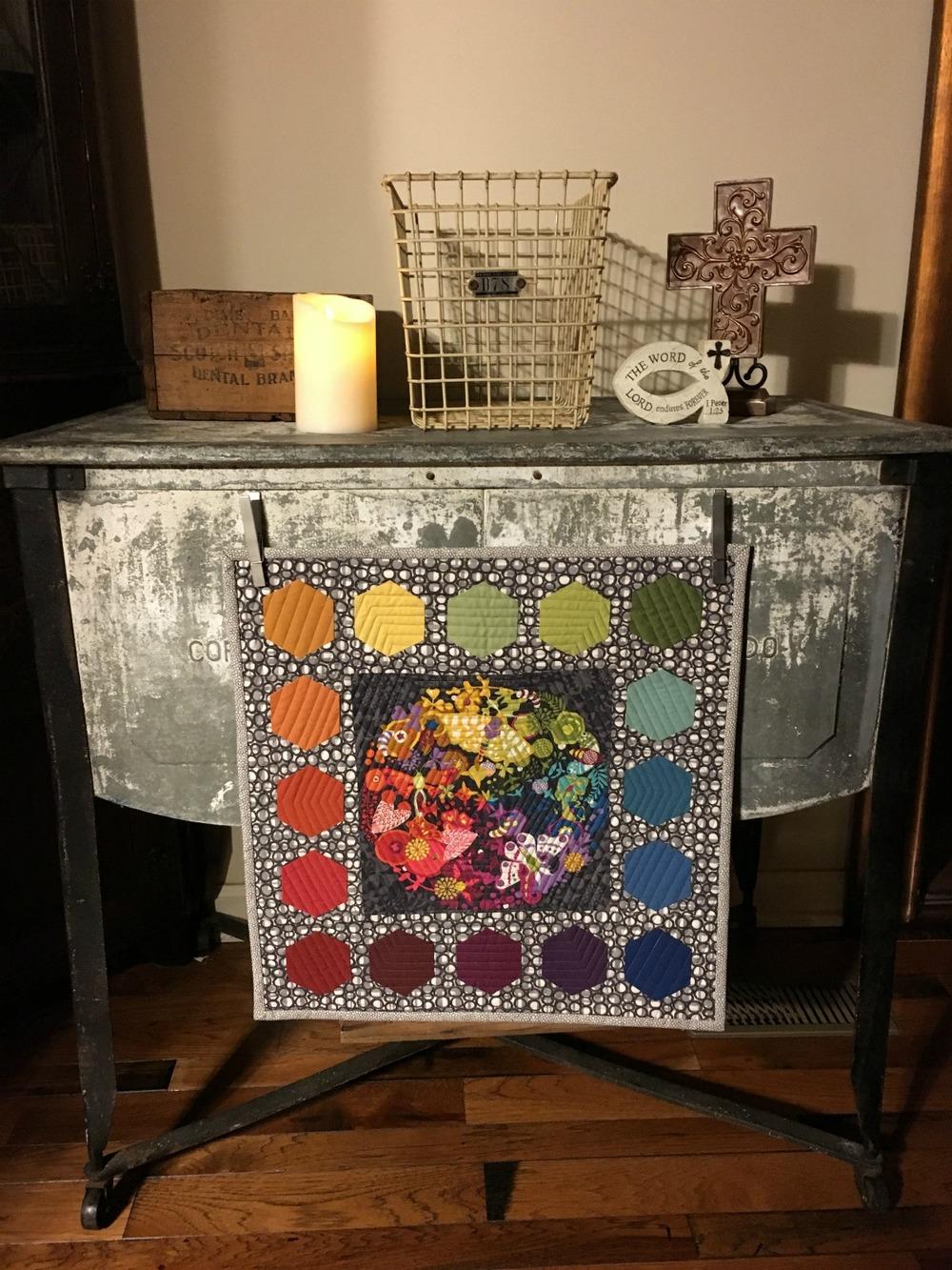 EX Libris Rainbow Hexagon Quilt