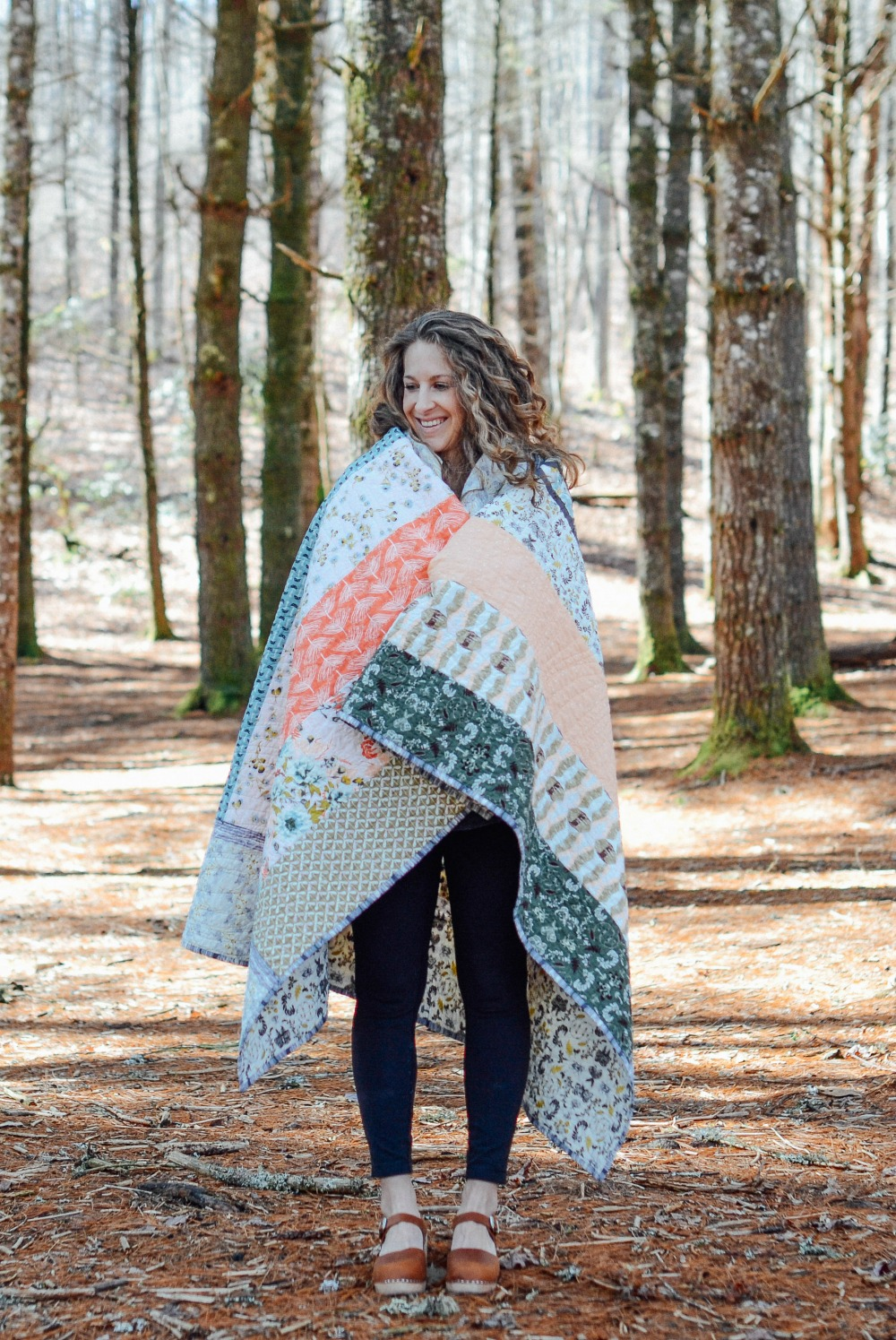 Bonnie Christine all wrapped up in Forest Floor Fabric!
