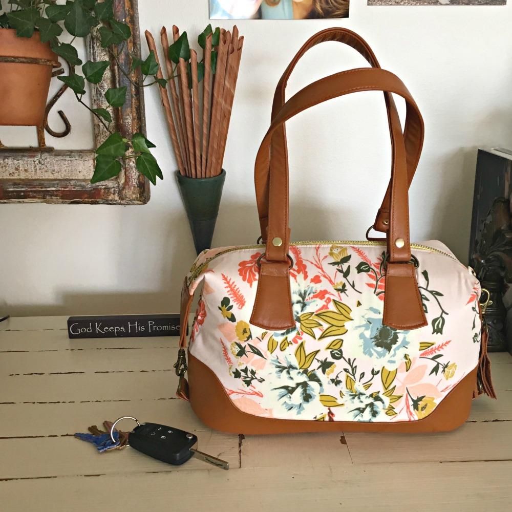 Swoon Patterns' Brooklyn Handbag in Bonnie Christine's Forest Floor fabrics for Art Gallery Fabrics.