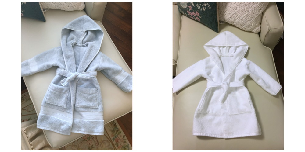 Finished Robes made from Terry Towels