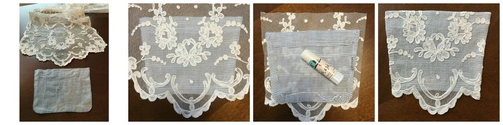 Covering an existing pocket with lace.