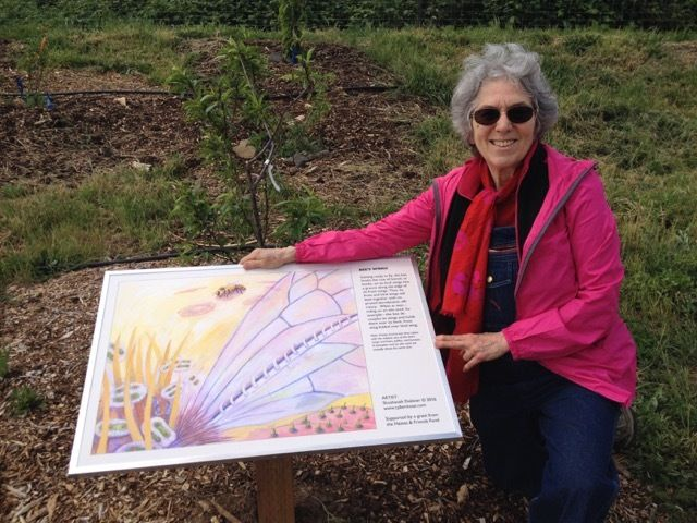 """Bee's Wings"" panel in the orchard at The Farm at SOU"