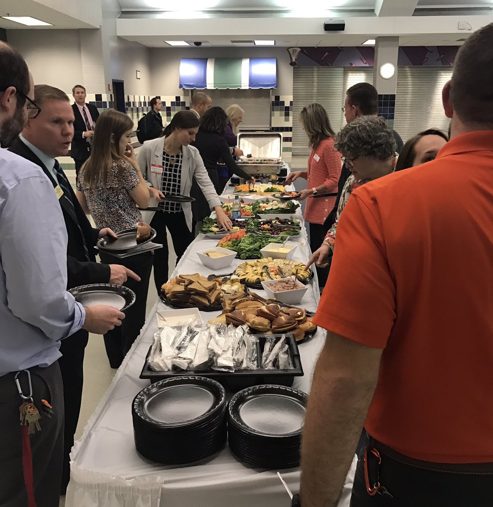 Teachers from Pike Township enjoyed an appetizer buffet at the event before the panelists began speaking.