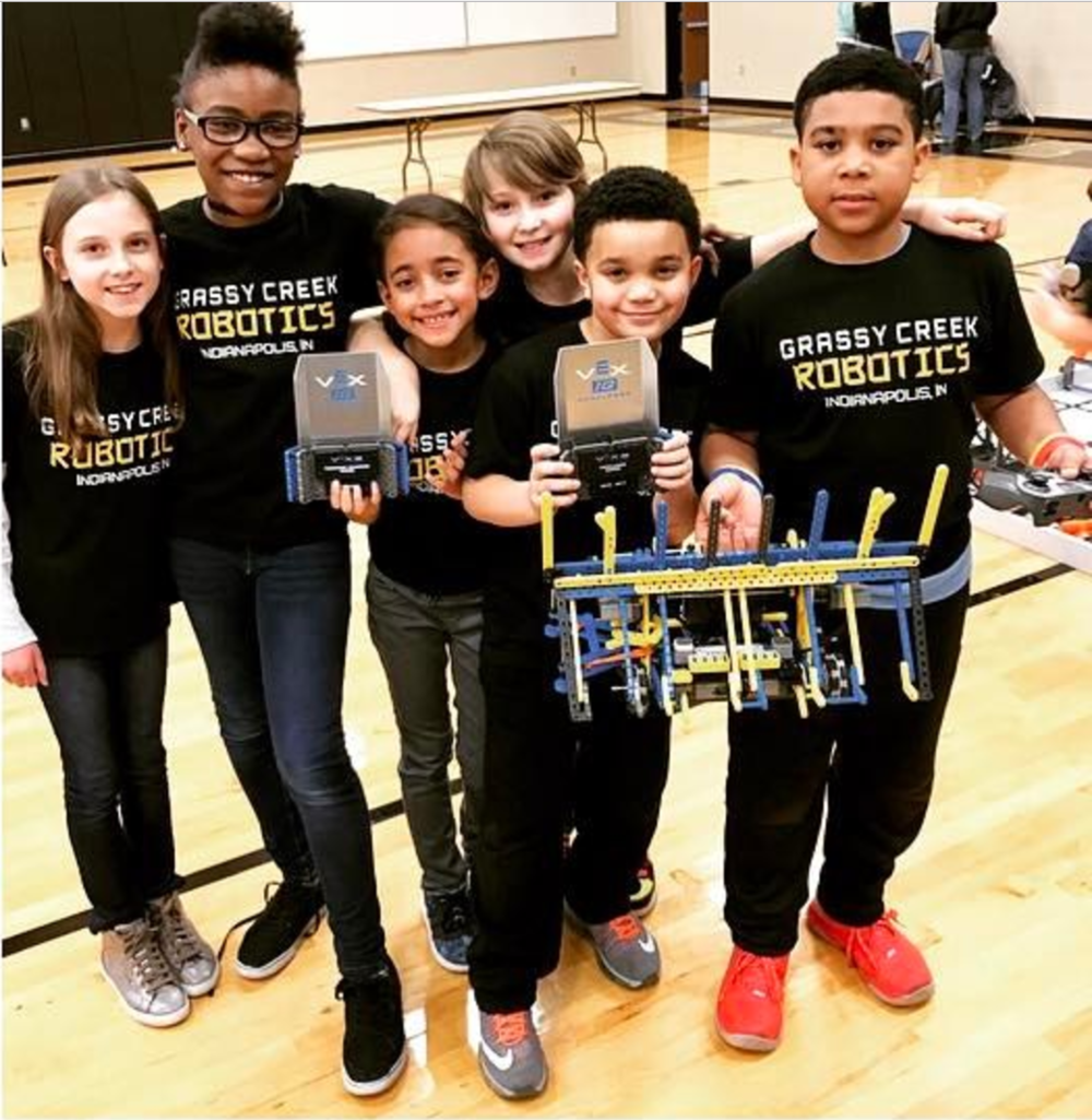 The WolverineBots from left: Hannah, Jocelyn, Natalie, Jala, Eli, and Raylen.