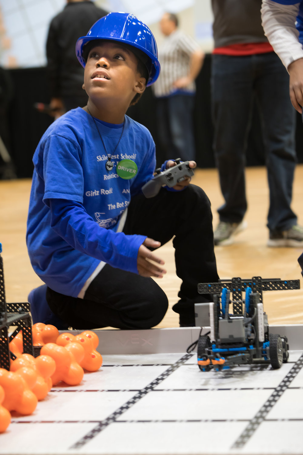 An Indiana student at a VEX IQ Challenge competition.