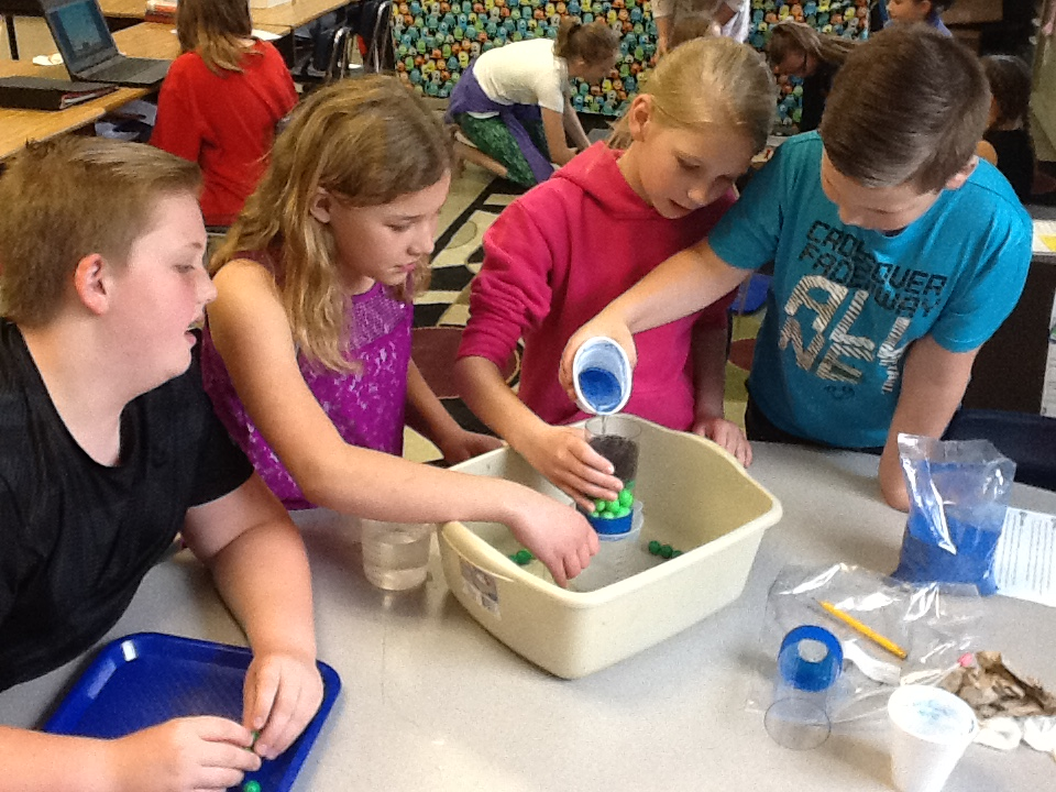 Students from East Side Elementary School in Edinburgh perform a hands-on science experiment in their classroom.