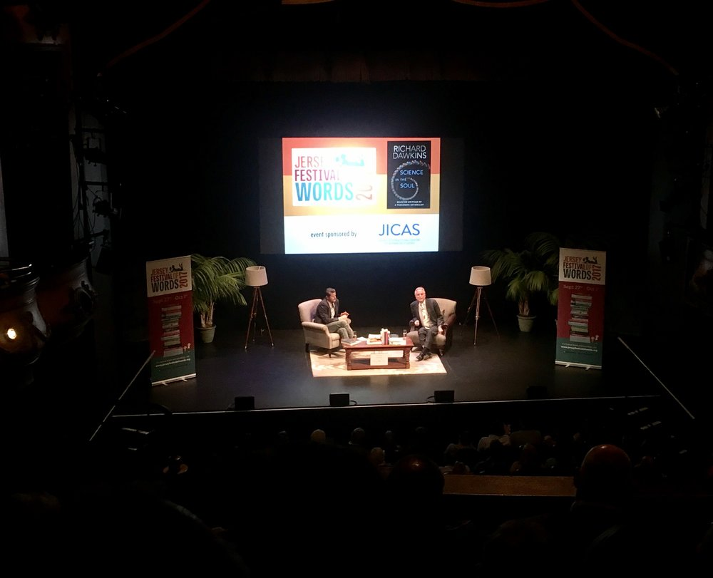 Professor Richard Dawkins at Cafe Sceintifique with Jersey Festival of Words.