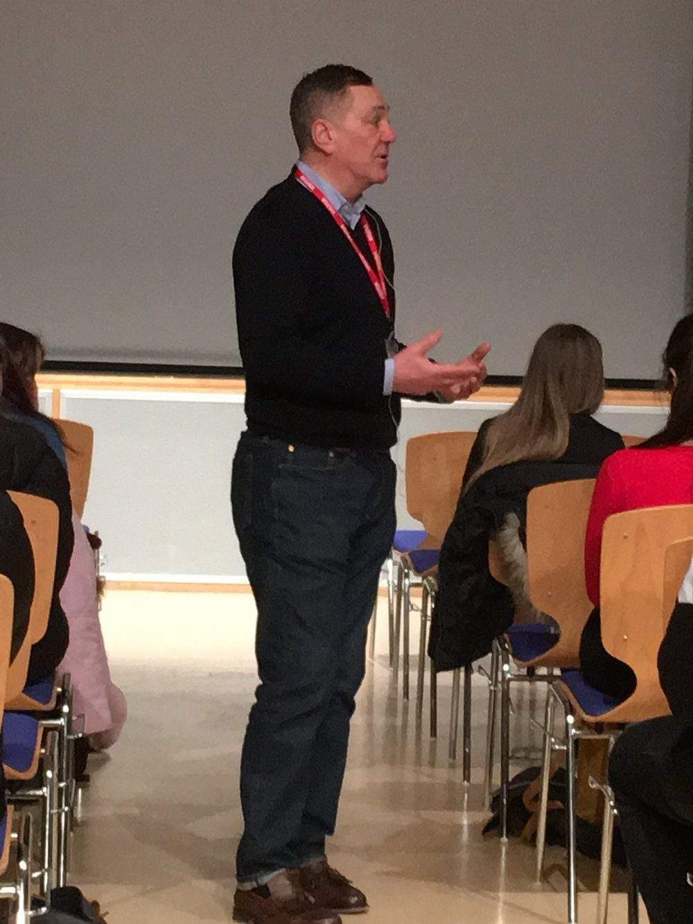 Professor David Wilson at Hautlieu school, February 2018.