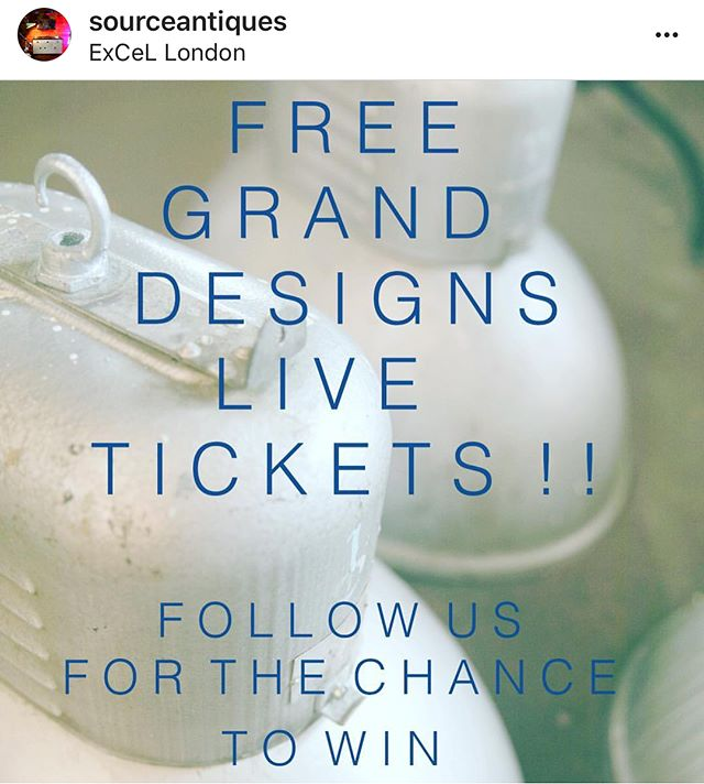 Win a pair of free tickets to @granddesignslive at the London ExCeL  Go follow @sourceantiques  The real deal in industrial lighting, beautifully restored vintage kitchens and all things architectural salvage!