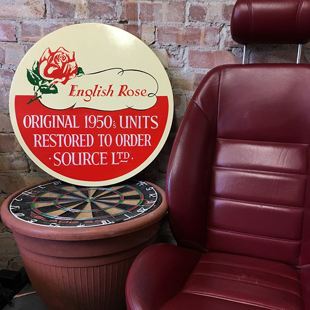 Hand painted English Rose logo with a twist for @sourceantiques while exhibiting with them at the Grand Designs show in London.  We love sharing our workshop with them, come and visit us in Bristol. Cuppa tea, leather Jag seats and a treasure trove of antiques.  #HandPainted #EnglishRose #Jaguar #GrandDesignsShowLondon #VintageKitchens