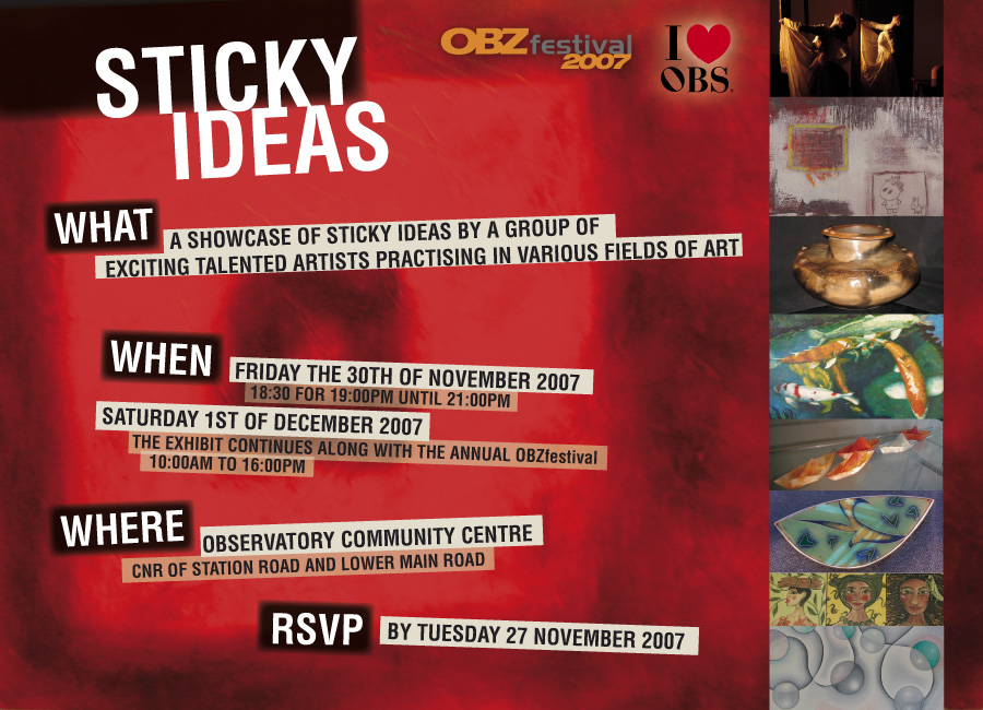 STICKY IDEAS EVENT - The invite to final group exhibition — Elaine
