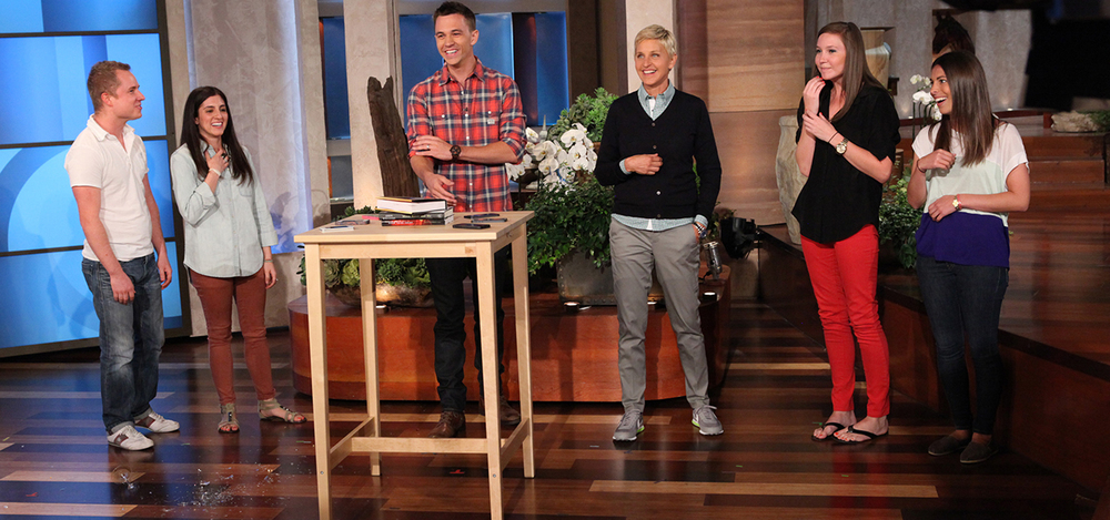 Justin Flom sharing magic with Ellen Degeneres