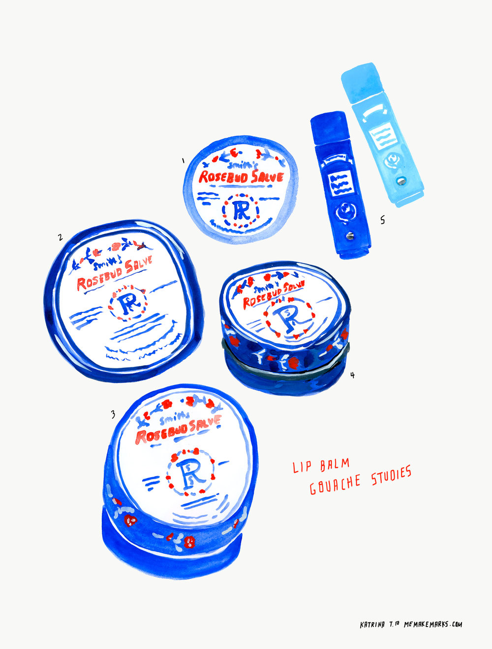 lip balm gouache studies