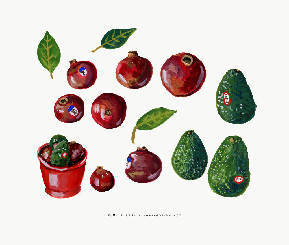 pomegranates and avocados