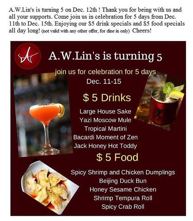 It is our 5th Anniversary, join us to celebrate it! #awlinsasiancuisine #anniversary #arkansasfood #delicious #drinks