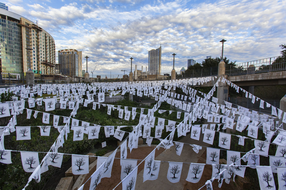 Photo credit: David Ingram via Flickr Commons  Thirst Art Installation memorialized over 300 trees that died in Austin as the result of drought.