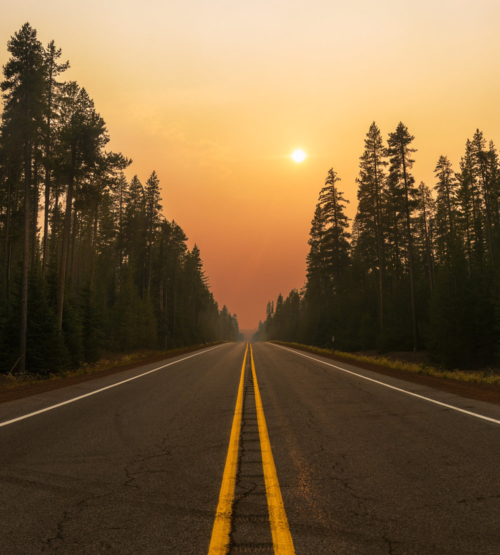 Smoky Sunset, Oregon State Highway 138, Crescent, Oregon; 2018.