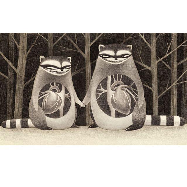 Happy 🖤 Day! #art #drawing #heart #raccoon