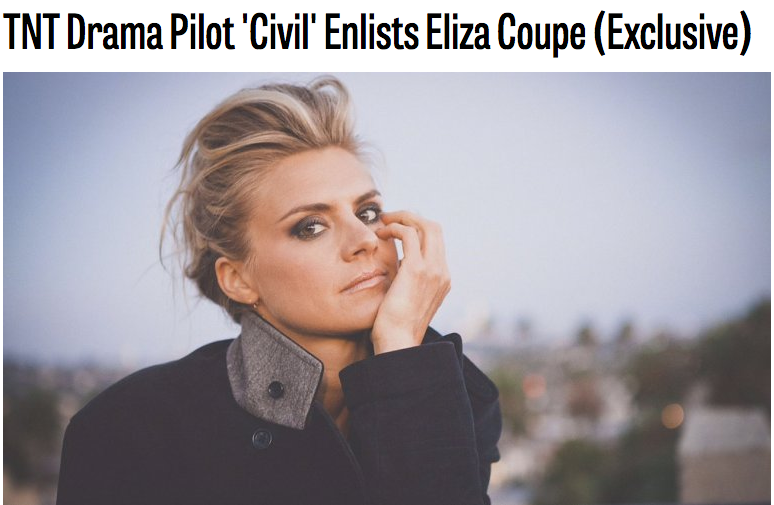 The 'Happy Endings' alum will guest-star in the pilot episode as a cable news correspondent.  TNT's drama  Civil  is adding another familiar face.  Eliza Coupe is set to guest star in the pilot,  The Hollywood Reporter  has learned.   Civil  takes place in the wake of a hotly contested Presidential election, as America finds itself plunging uncontrollably into a modern-day Civil War. The series weaves together the personal stories of citizens from all walks of life, whose actions — amplified in an age of instant media — add fuel to the conflict and affect the fate of the entire country.  Coupe will play Kelly Brookmyre, a cable news correspondent attached to the Republican Presidential campaign. Her ambition — and her willingness to bend a few rules — ends up nudging her across the line from covering news to making it, with a profound effect on the course of the nation.  -  HOLLYWOOD REPORTER