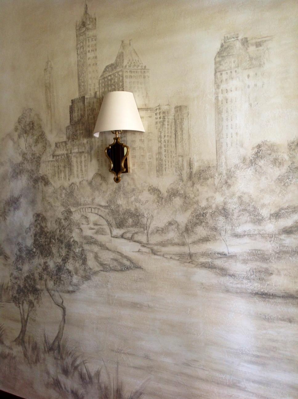 Mural over skip troweled Venetian Plaster.JPG