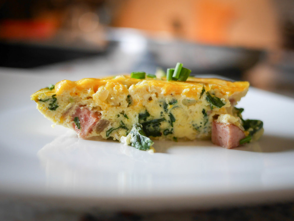 Swiss Chard and Polish Sausage add a unique flavor to your standard crustless quiche.