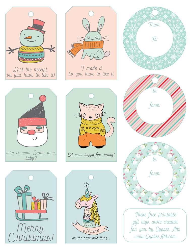 Free Printable Gift Tags by Gypsee Art