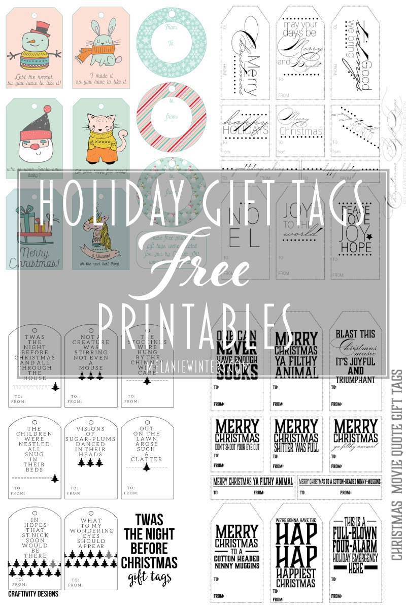 Collaborating with a few other fabulous designers, we've made all of these gift tags FREE for you to download, print and use! Happy Holidays!