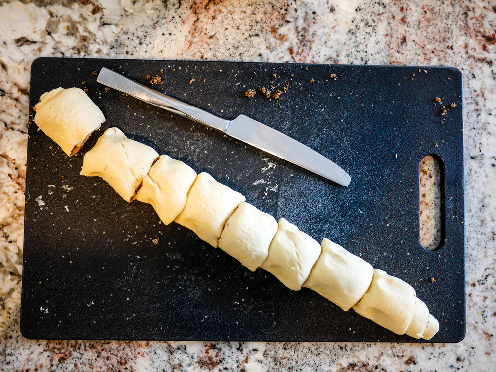 Cut dough into 8 equal pieces.
