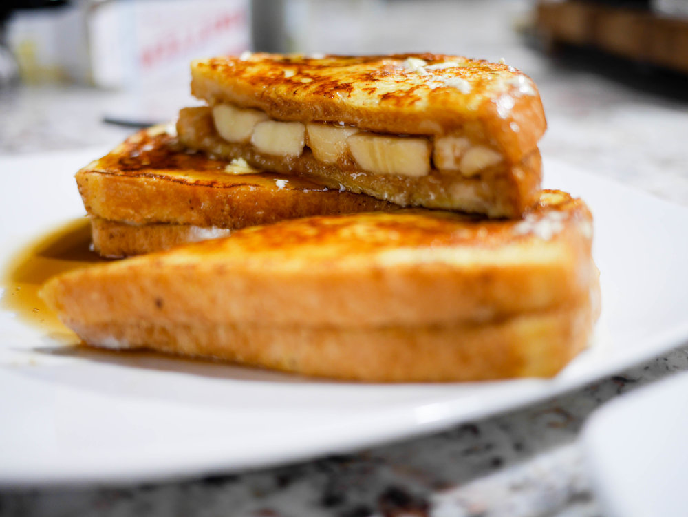 Slice it on the diagonal to see the yummy layers of peanut-butter and banana! A breakfast that certainly looks like a lot more work than it actually is...