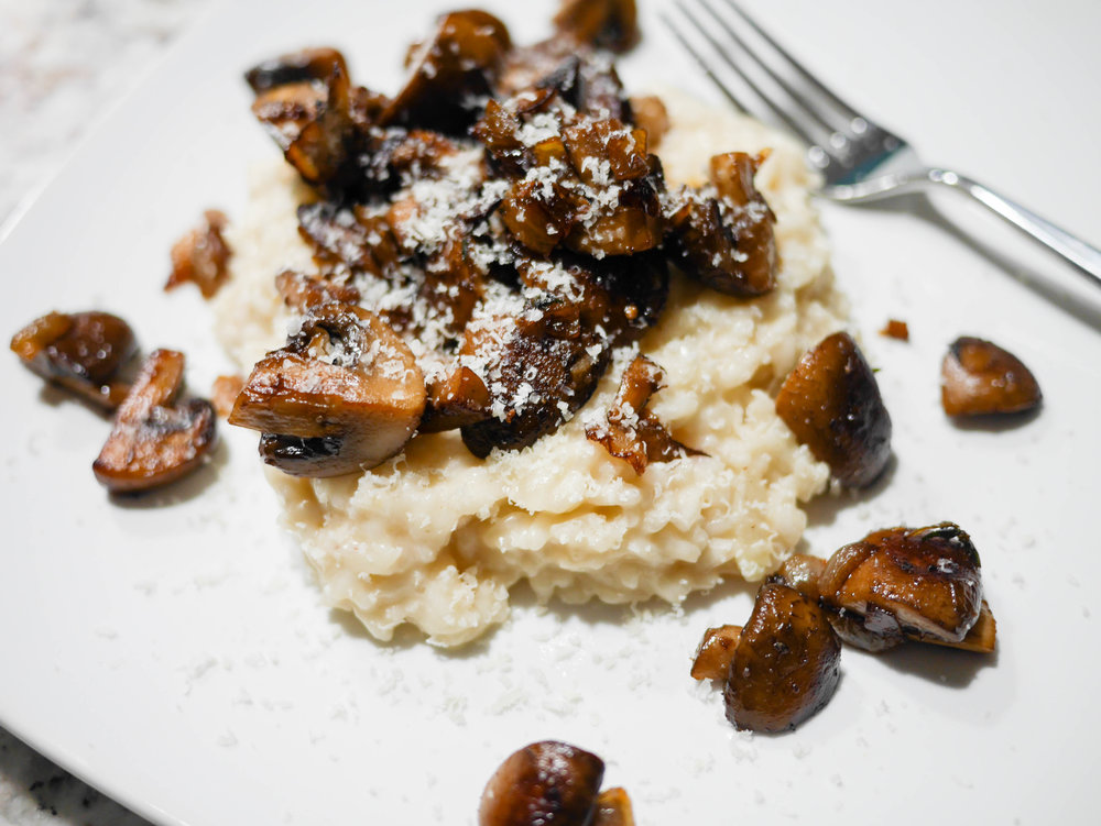 Freshly grated parmesan cheese adds a nutty finish to this flavor packed duo of risotto and mushrooms.