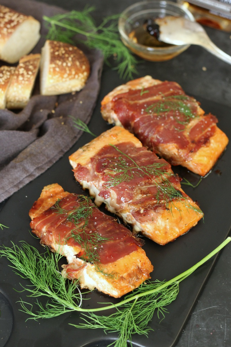 A trio of flavors that's going to leave you wanting more is what's in store for Thursday of this week's meal plan! Prosciutto Maple Salmon - Photo from Silvia at  Garden in the Kitchen  - written permission for use received.