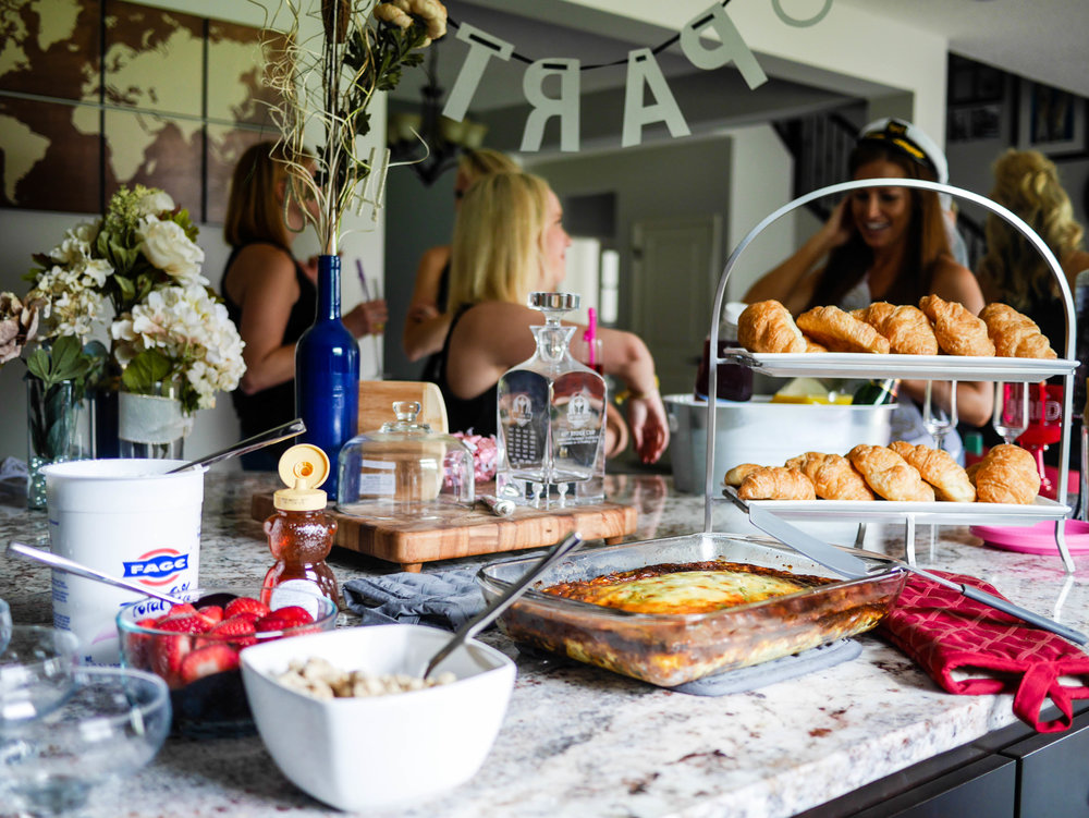 Bachelorette Brunch Tip: Keep it simple. A yogurt bar, egg bake and some croissants are plenty for a group of girls about to spend the day on the lake.