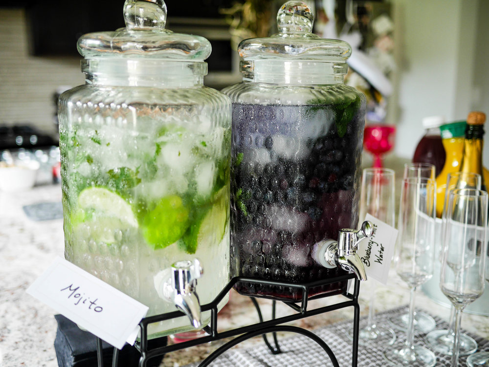 Mojitos and Blueberry-Mint infused water provide some refreshing drink alternatives to the mimosa bar.