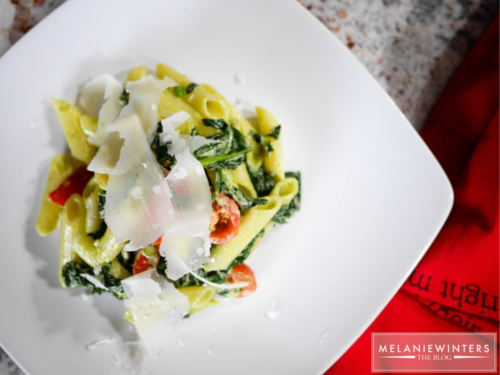 Locally sourced spinach and kale and herbs from the deck make this a pasta full of deliciously fresh flavors.