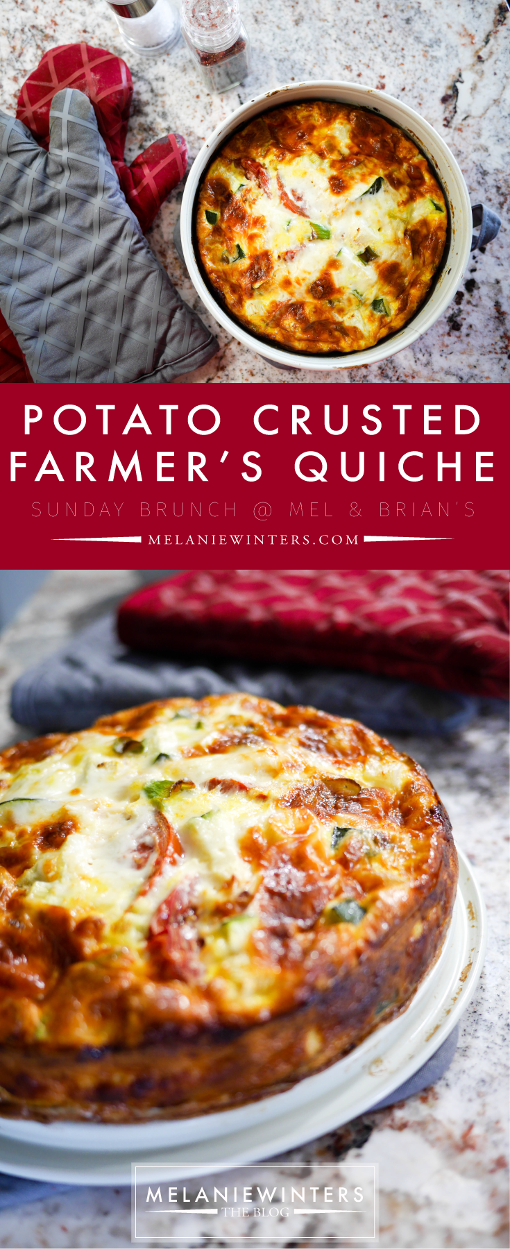 Gluten free and packed with fresh veggies, you can feel good about going back for seconds with this potato crusted farmer's quiche.