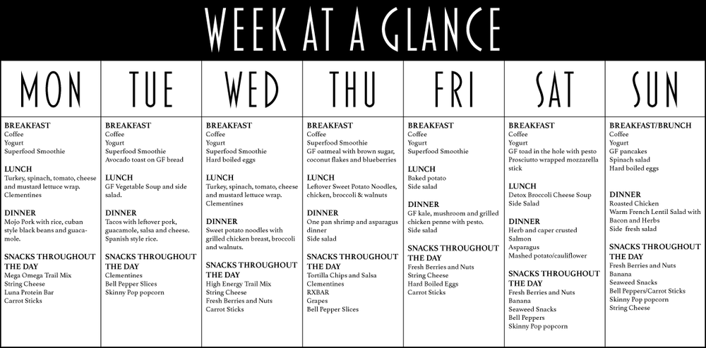 Eating healthy doesn't have to be expensive, difficult or time consuming. Our week at a glance shows just how delicious eating healthy can be.