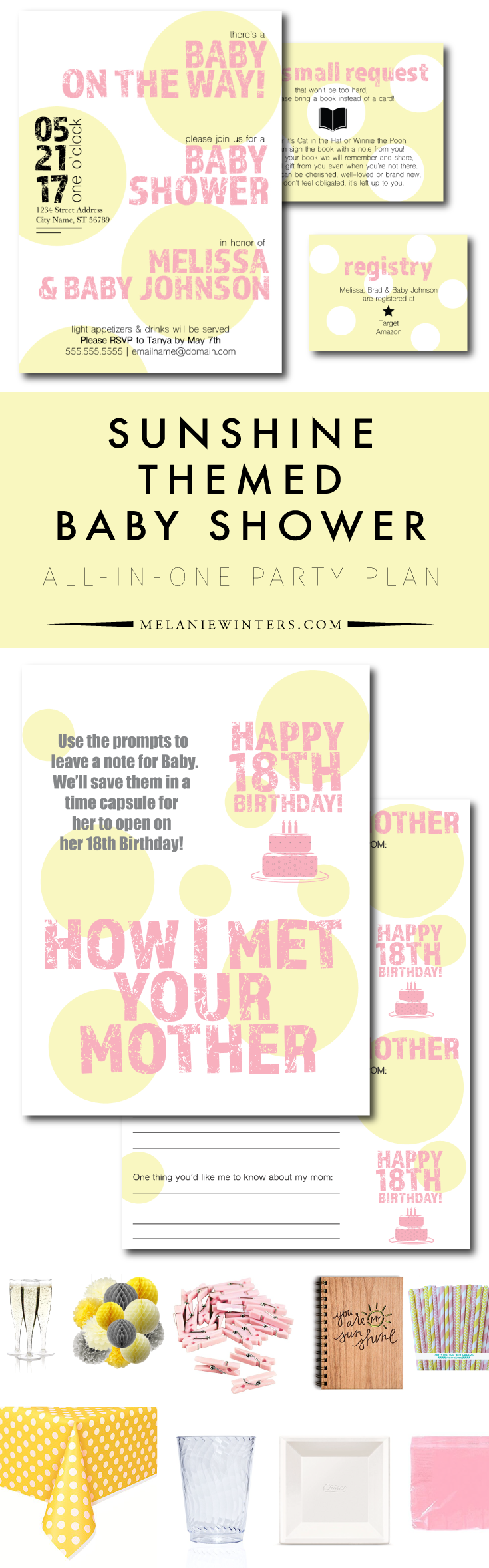 From invites and activities to food and decor ideas, the heavy lifting is done for you! We've put together some of our favorite sunshine themed baby shower decor, fabulous invitations and even some of our favorite party food recipe links so you finally have a one stop shop to get your party planning done in no time.