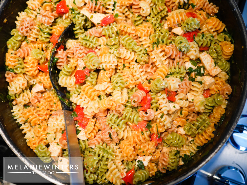 Colorful pasta makes this a pasta recipe that kids and grown-ups alike are sure to enjoy.