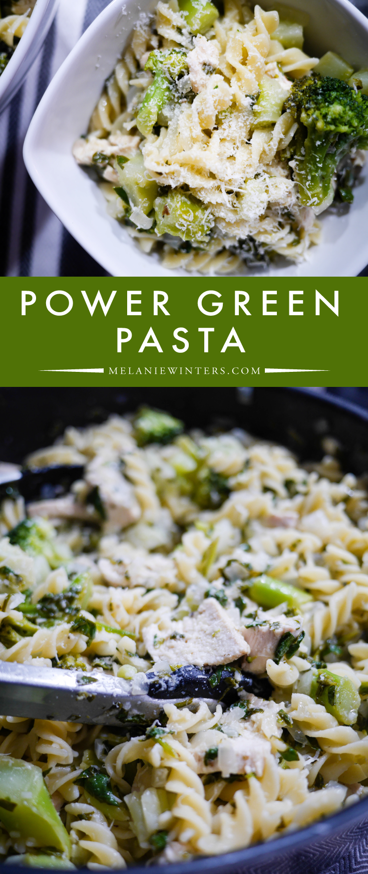 Packed full of green goodness and tossed in a light garlic sauce, this pasta is a delicious way to eat your veggies!