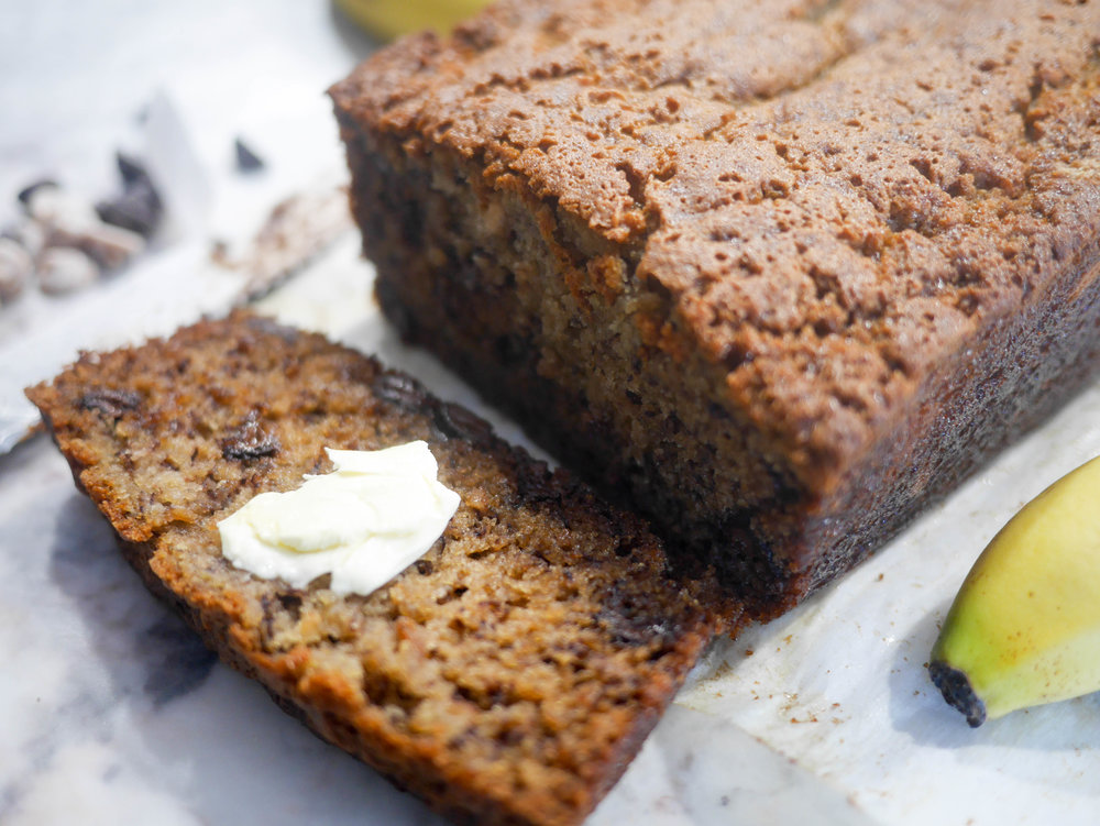 Rich and moist on the inside with a crispy crust around the outside, this banana bread is going to go fast!
