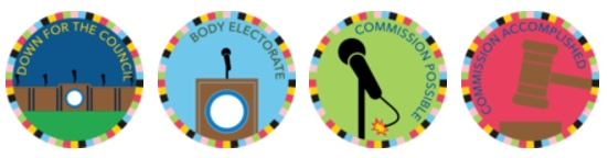 Four of CivCity's badges in the 2017 Ann Arbor District Library's Summer Game!