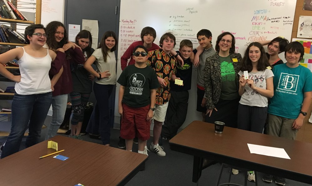 Summers-Knoll School students with CivCity founder Mary Morgan in May 2017.