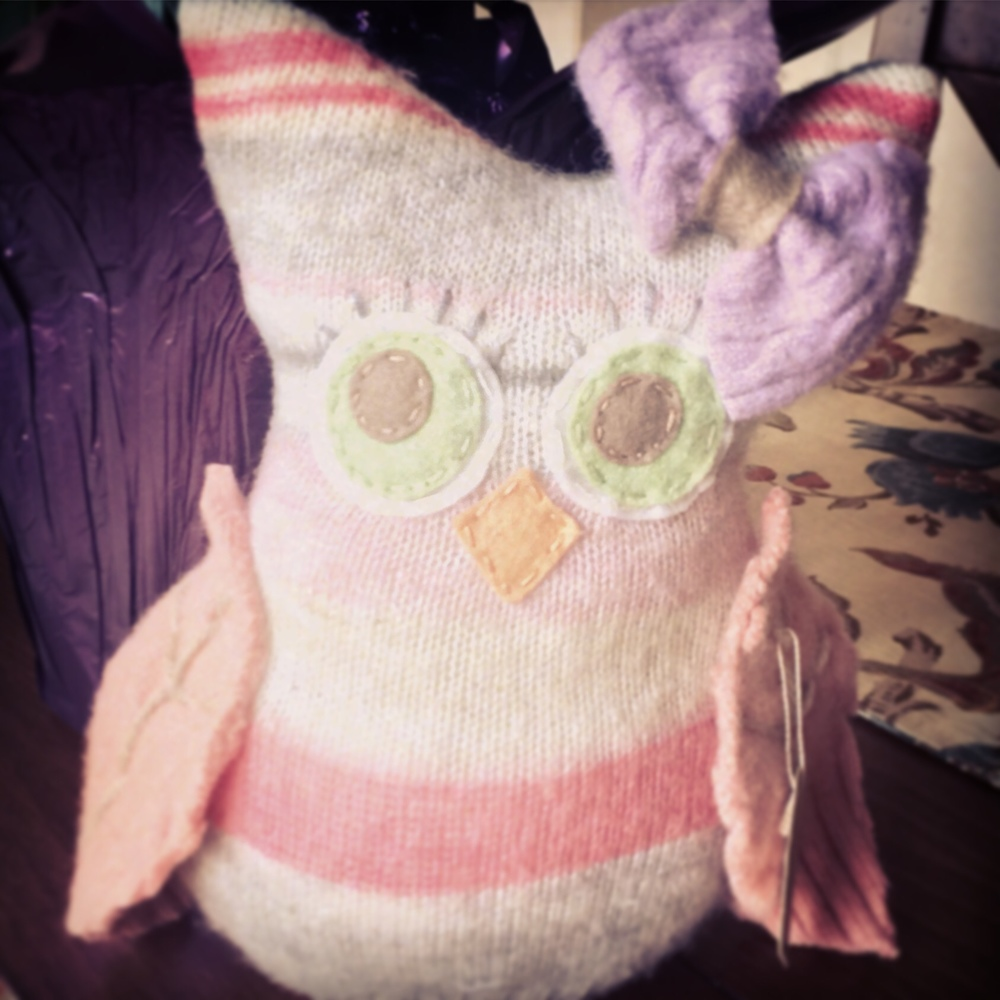Handmade, repurposed sweater owl by Aimee Re