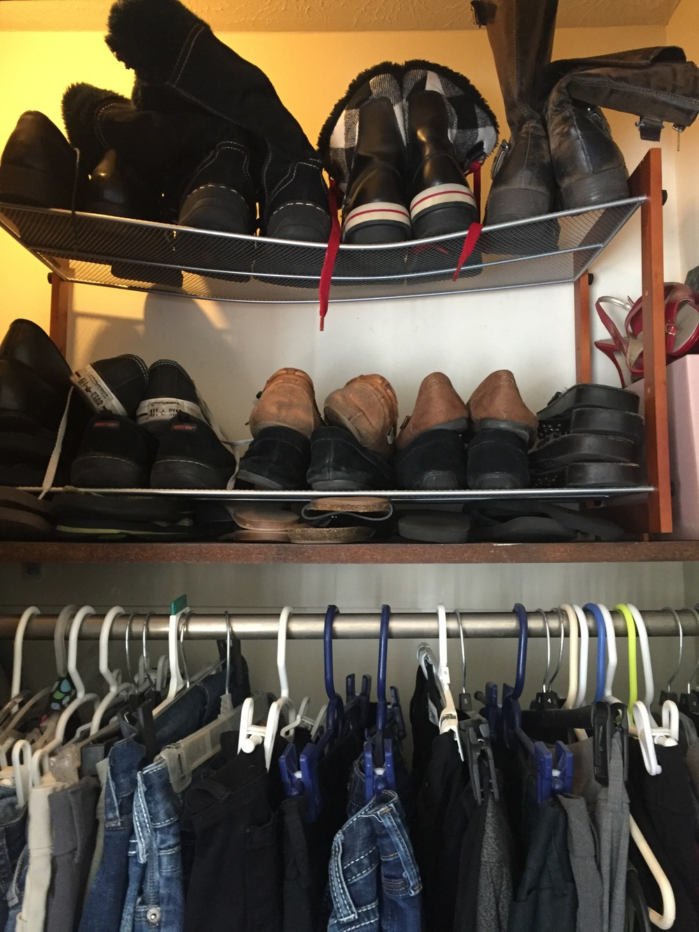 After - I moved the shoe shelf we were using in the Before images to my closet!