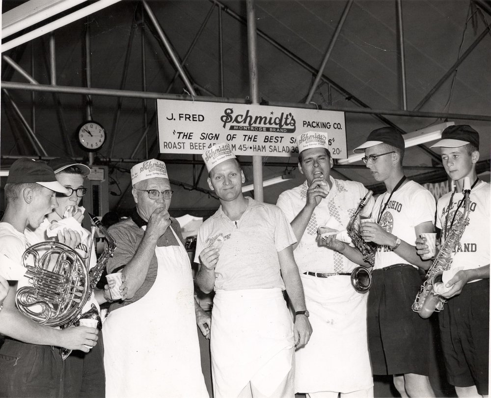 George Schmidt (center) birthday at the Ohio State Fair, 1955.